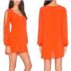 Lovers + Friends Split Sleeve Orange Gracie Dress